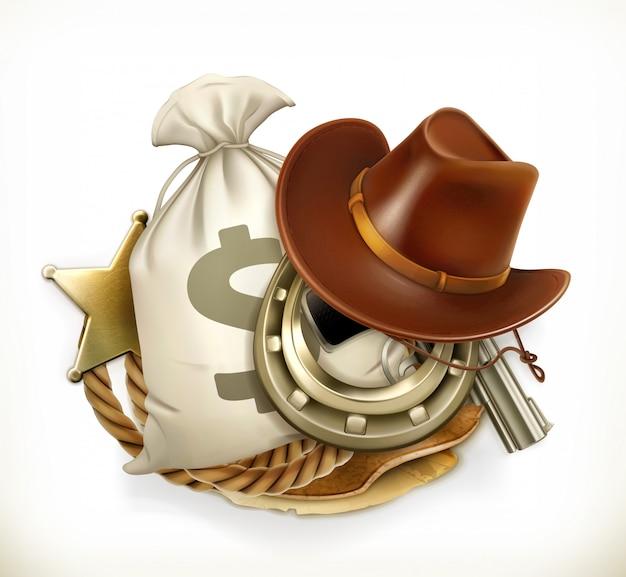 Cowboy adventure. logo del gioco. emblema 3d Vettore Premium