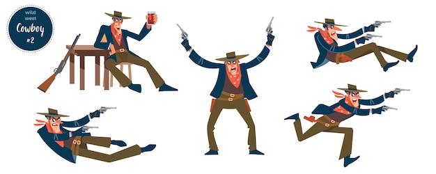 Cowboy con personaggi umani piatti piatti in diverse situazioni con pittogrammi di cartone animato Vettore Premium
