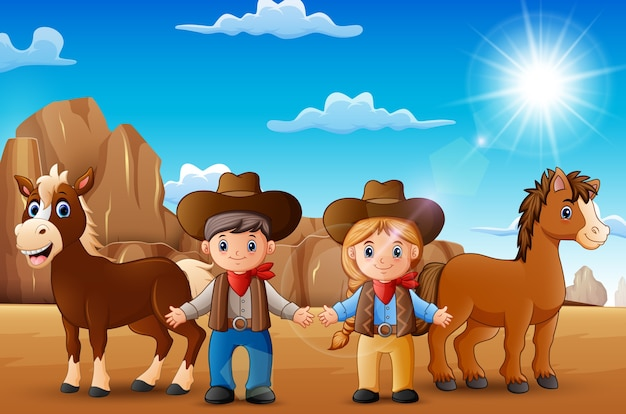 Cowboy e cowgirl del fumetto con gli animali nel deserto Vettore Premium