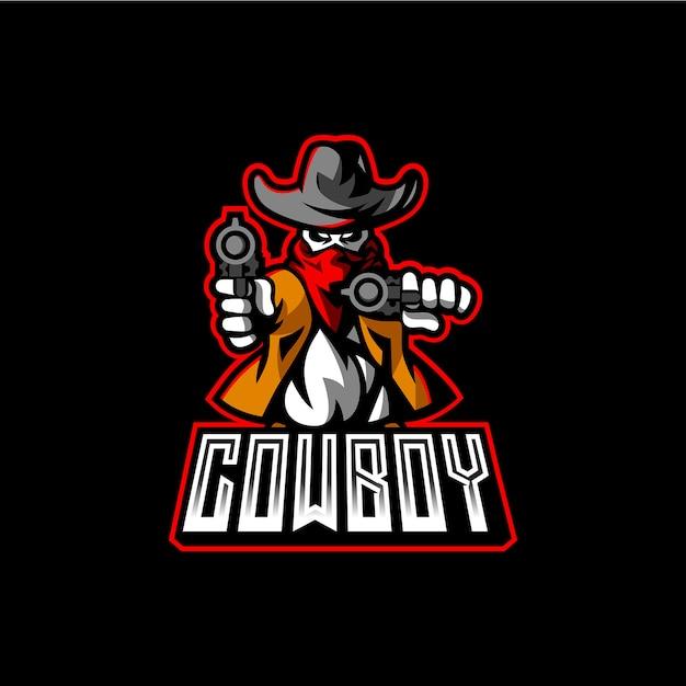 Cowboy esport mascot logo template Vettore Premium