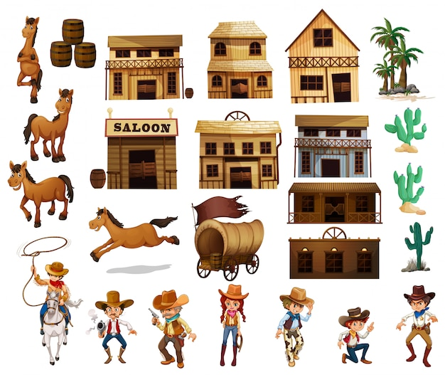 Cowboy occidentali Vettore gratuito
