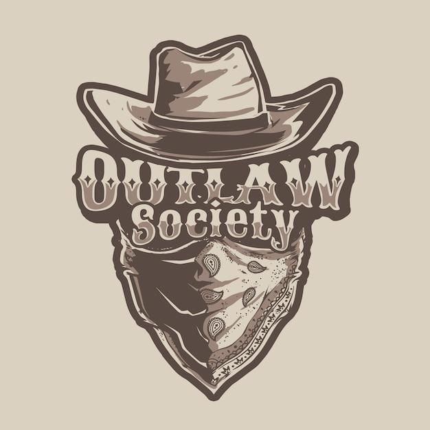Cowboy outlaw illustration theme Vettore Premium