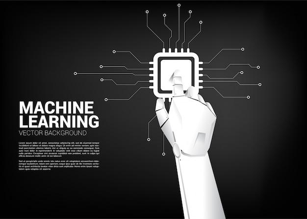 Cpu touch della mano robot. concetto di business per l'apprendimento automatico e un processore di intelligenza artificiale Vettore Premium