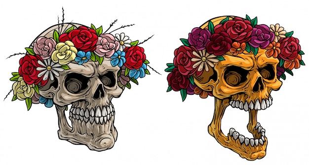 Crani umani realistici del fumetto con la corona di fiori Vettore Premium