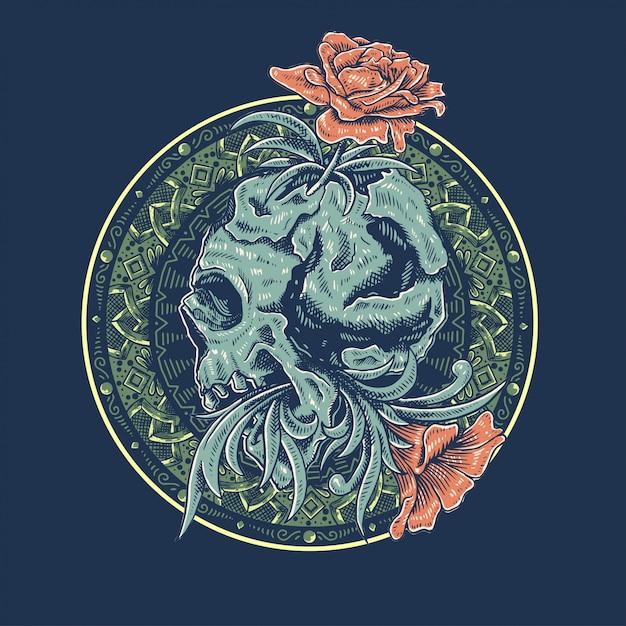 Cranio arte disegno vettoriale Vettore Premium