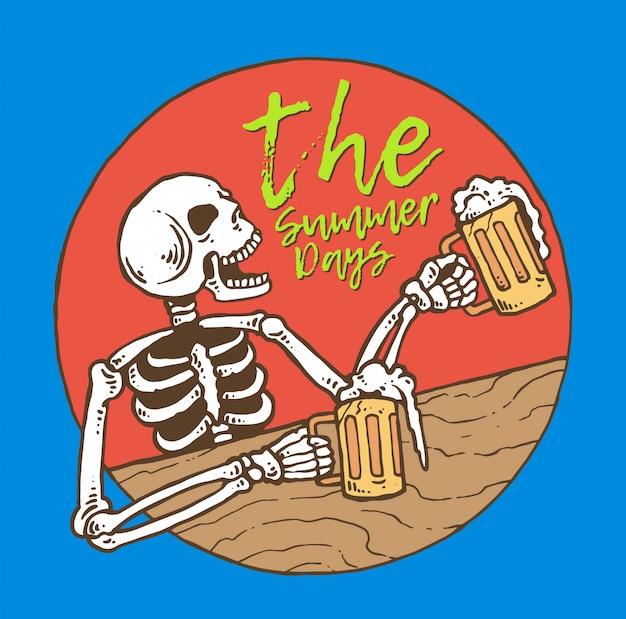 Cranio che beve birra nei giorni estivi Vettore Premium