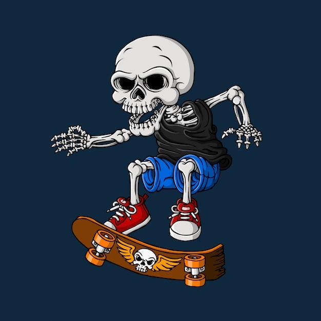 Cranio che gioca skateboard, disegnati a mano, vettore Vettore Premium