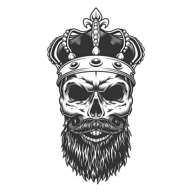 Cranio con barba nella corona Vettore gratuito