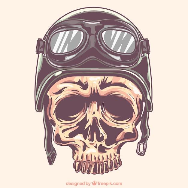 Cranio con casco e occhiali da motociclista Vettore gratuito