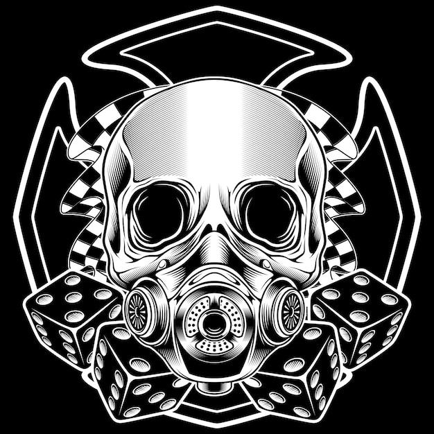 Cranio con disegno a mano bandiera corsa Vettore Premium