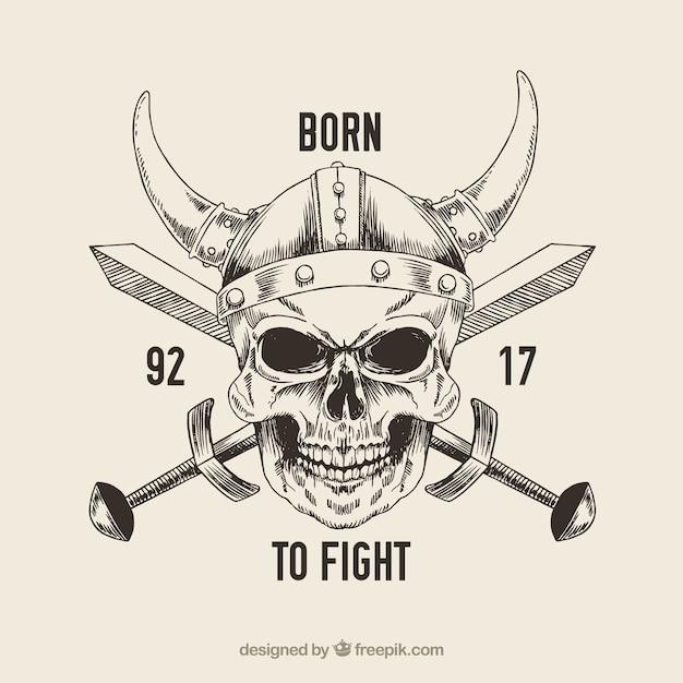 Cranio con elmo vichingo e la spada Vettore gratuito