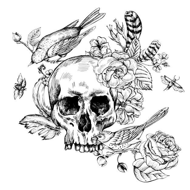 Cranio con fiori, rose, uccelli e piume Vettore Premium