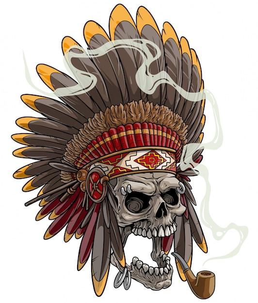 Cranio del fumetto in copricapo capo indiano americano Vettore Premium