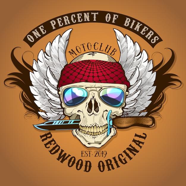 Cranio del motociclista con l'illustrazione del coltello Vettore Premium