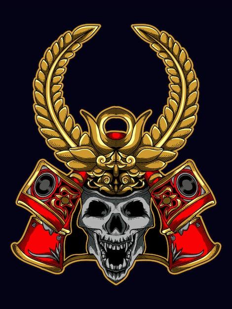 Cranio del samurai di progettazione dell'illustrazione della maglietta Vettore Premium