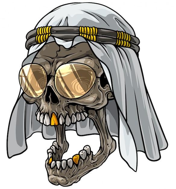 Cranio di cartone animato in sciarpa araba kefiah e bicchieri Vettore Premium