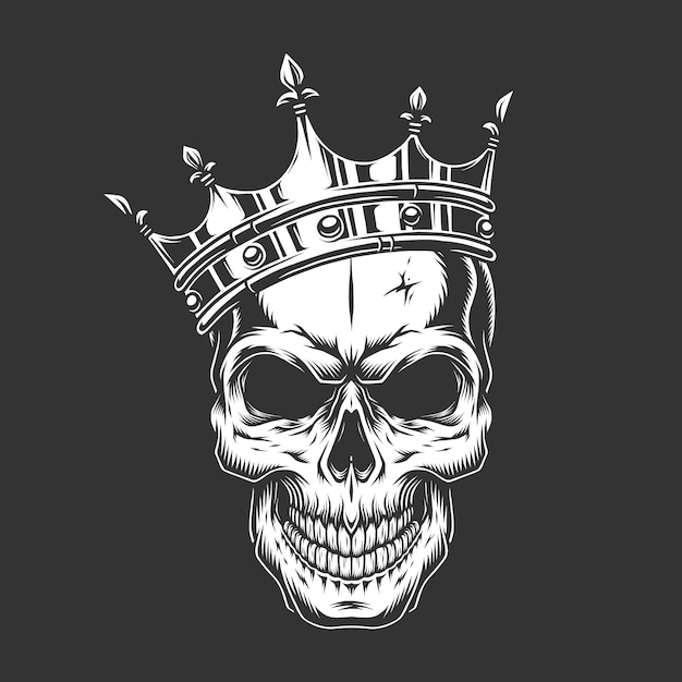 Cranio di principe monocromatico vintage in corona Vettore gratuito