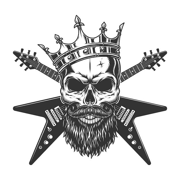 Cranio di rock star vintage in corona Vettore gratuito