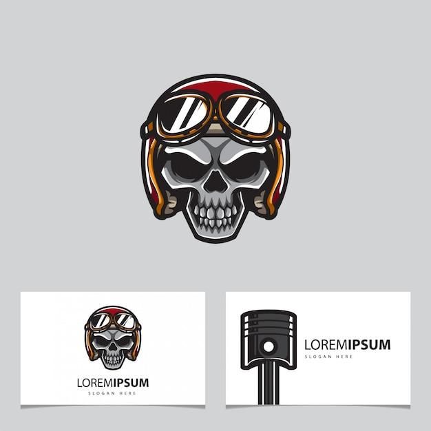 Cranio e carta del classico automobilista Vettore Premium