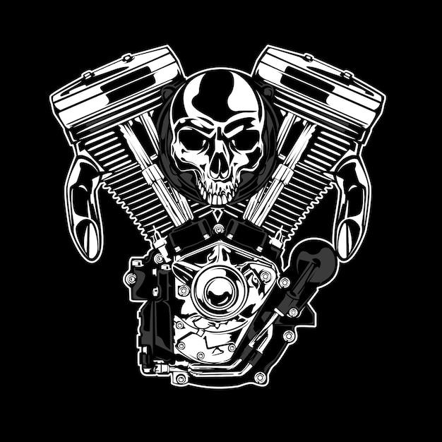Cranio e sfondo del motore Vettore gratuito