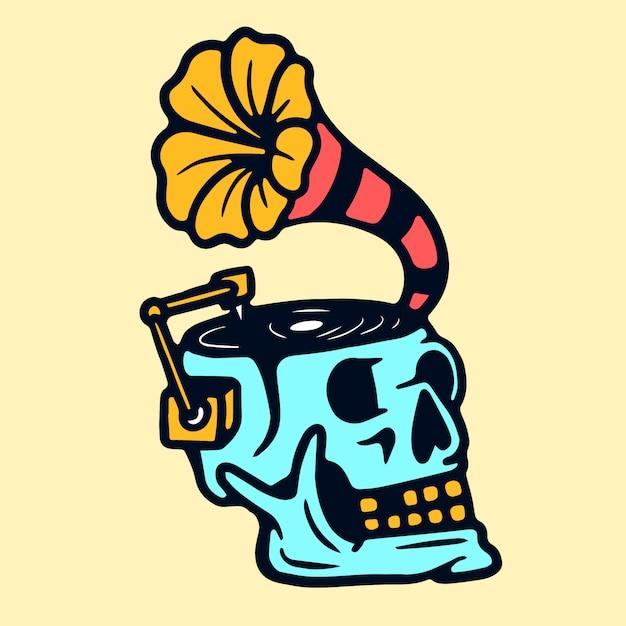Cranio grammofono vecchia scuola tatuaggio vettoriale Vettore Premium