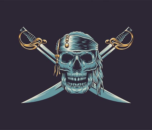 Cranio illustrazione pirata Vettore Premium