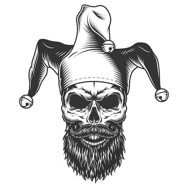 Cranio in cappello da giullare Vettore gratuito
