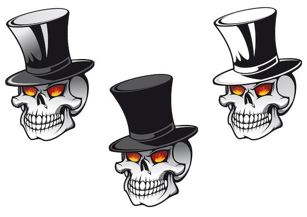 Cranio in cappello nero per il disegno del tatuaggio Vettore Premium