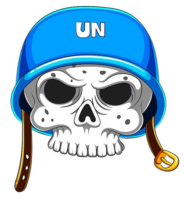 Cranio in casco blu su fondo bianco Vettore Premium
