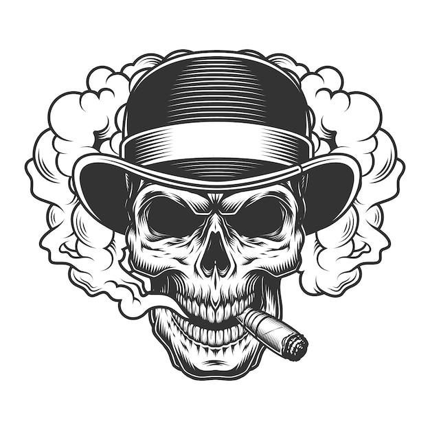 Cranio in nuvola di fumo Vettore gratuito