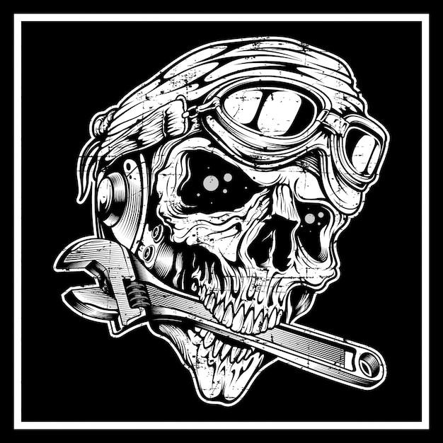 Cranio in stile vintage grunge il teschio morde la chiave inglese Vettore Premium