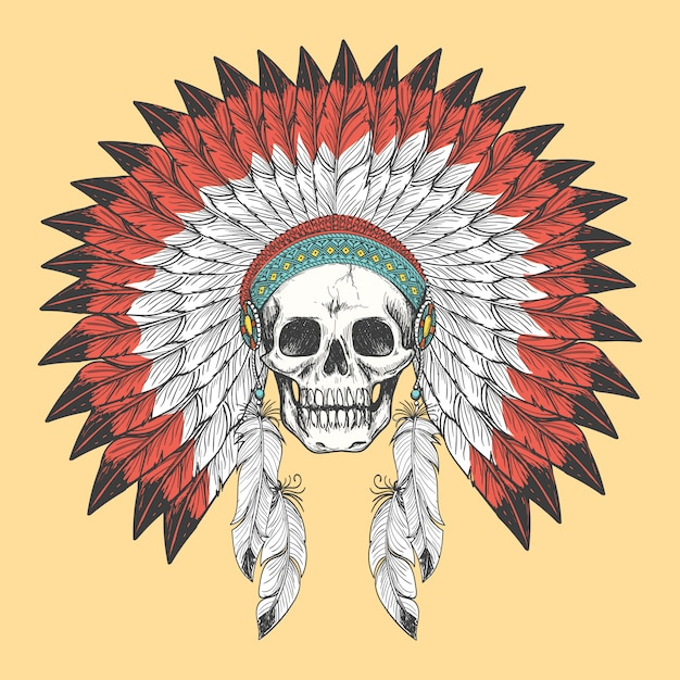 Cranio indiano americano in copricapo di piume Vettore Premium