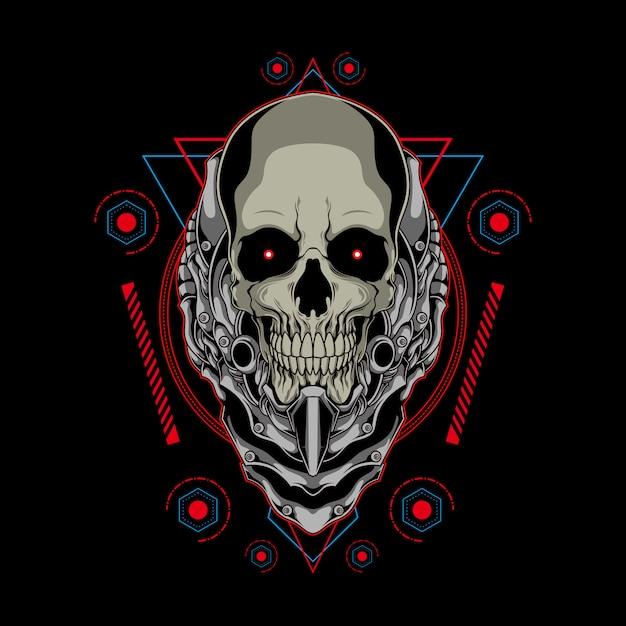 Cranio meccanico con l'illustrazione della geometria sacra Vettore Premium