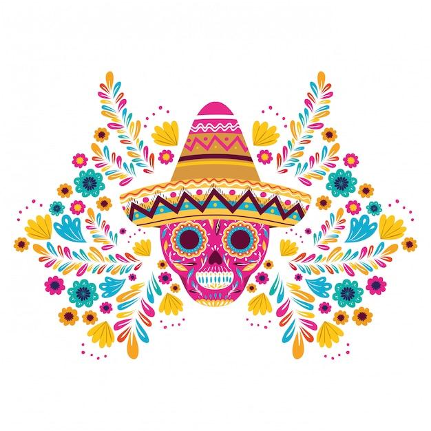 Cranio messicano con cappello su carta bianca Vettore Premium