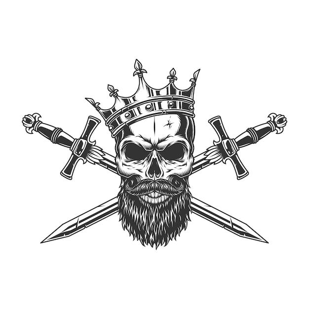 Cranio re vintage monocromatico in corona Vettore gratuito