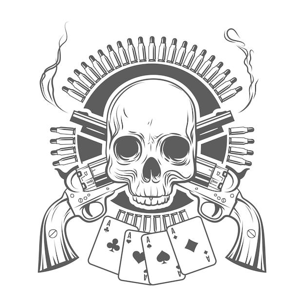 Cranio, revolver incrociati, carte e cartucce. illustrazione vettoriale Vettore Premium