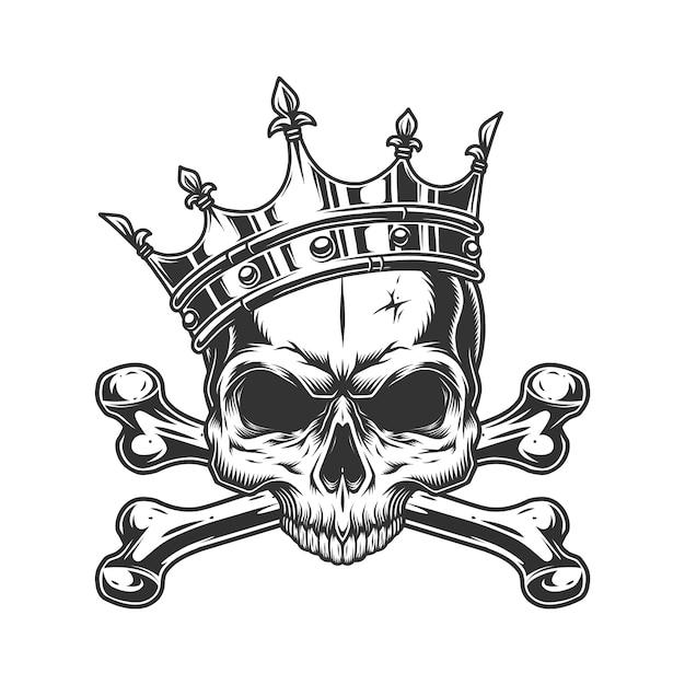 Cranio senza mascella nella corona reale Vettore gratuito
