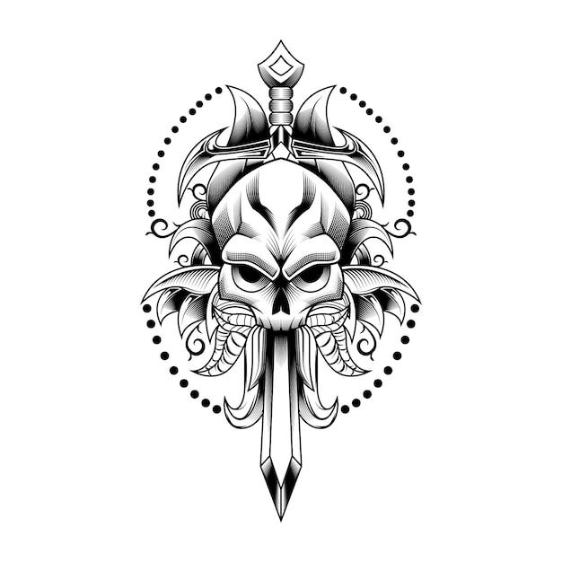 Cranio spada e lasciare arte illustrazione vettoriale per tatuaggio Vettore Premium