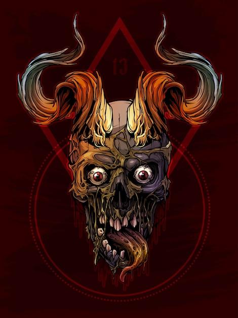 Cranio umano colorato grafico con corna di toro Vettore Premium