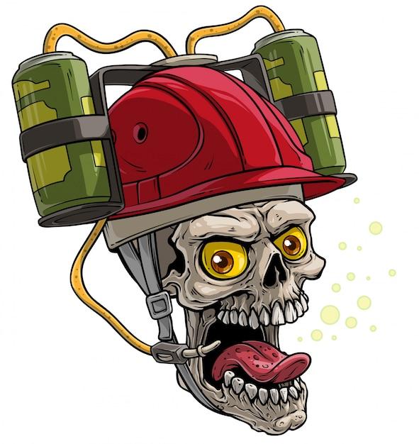 Cranio umano del fumetto nel casco rosso della birra bevente Vettore Premium