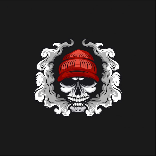 Cranio vape logo design illustrazione Vettore Premium