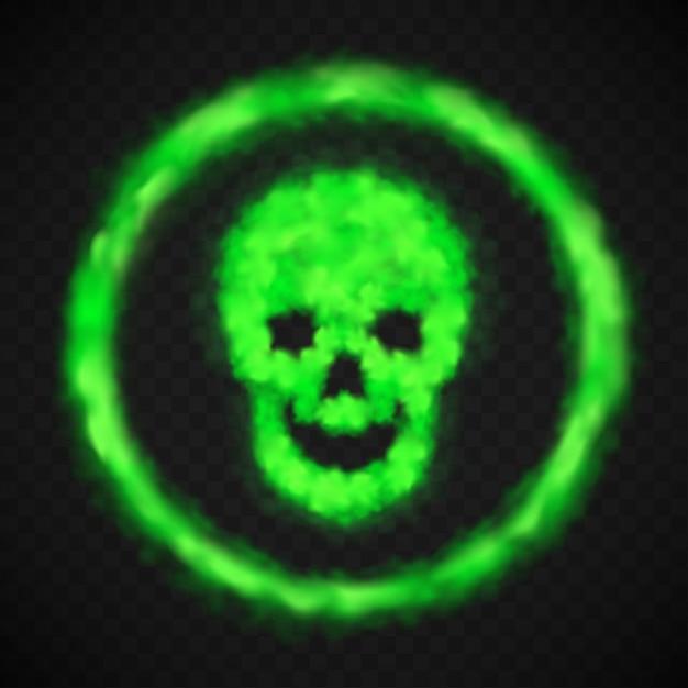 Cranio verde fumo avvertimento segno di pericolo Vettore gratuito
