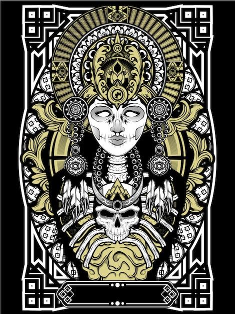 Cranio voodoo femminile Vettore Premium