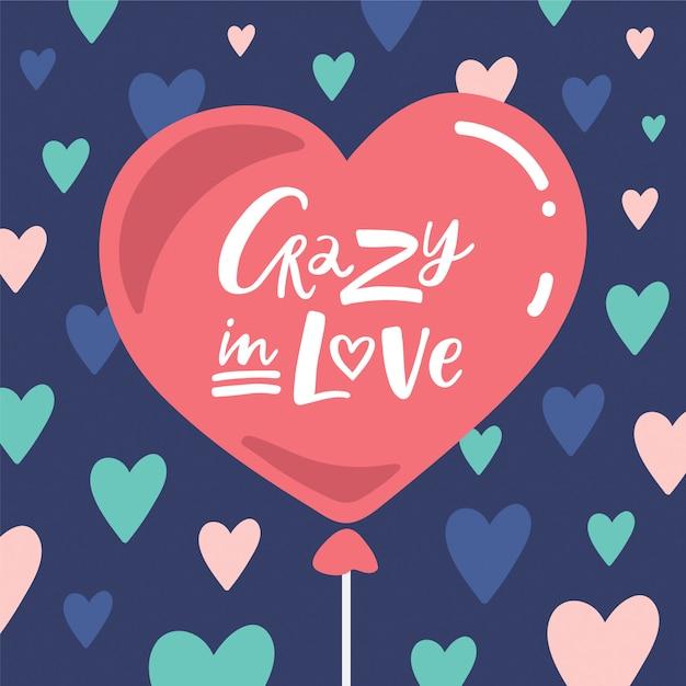 Crazy in love lettering composizione Vettore Premium