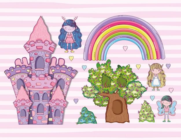 Crea fantastiche creature con arcobaleno e castello Vettore Premium