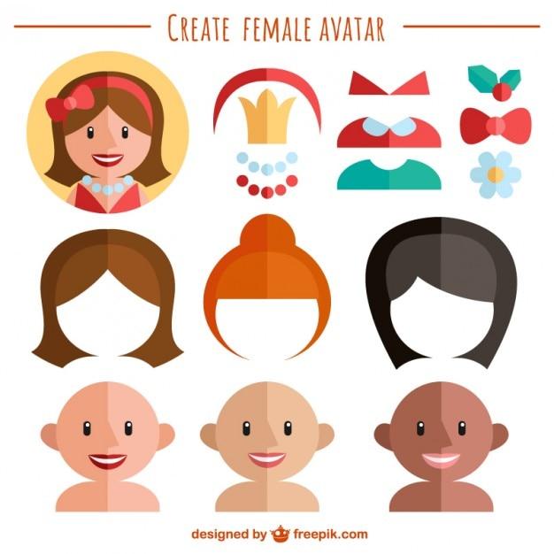 Crea il tuo avatar femminile scaricare vettori gratis for Crea il tuo avatar arreda le tue stanze