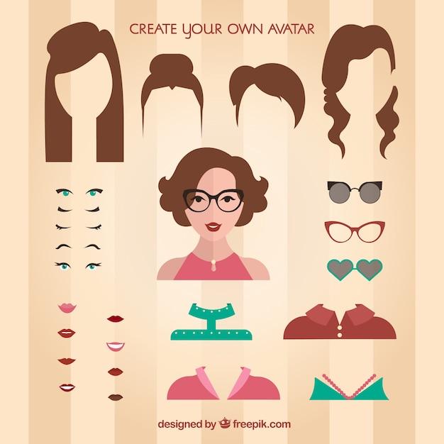 Crea il tuo avatar femminile scaricare vettori premium for Crea il tuo avatar arreda le tue stanze