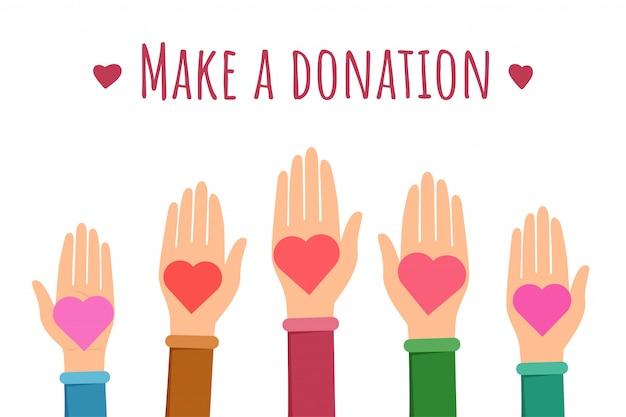 Crea un modello di banner piatto per le donazioni Vettore Premium