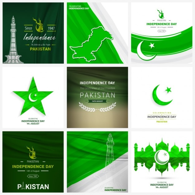 Creative background set pakistan independence day Vettore gratuito