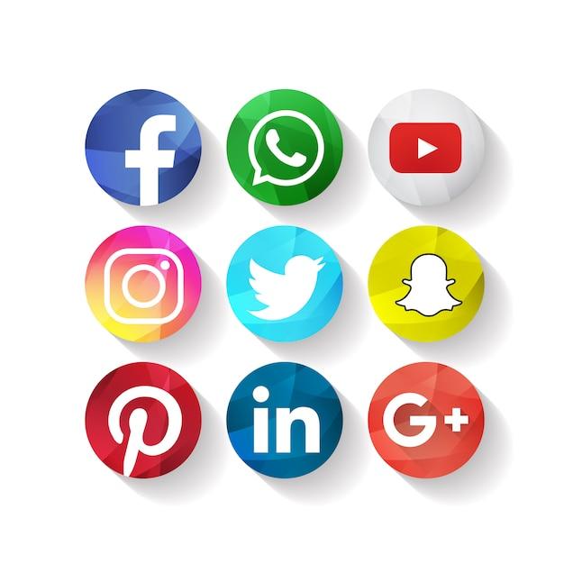 Creative social media icons facebook Vettore gratuito